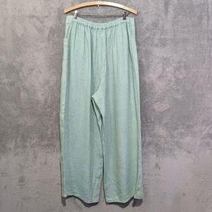 Flax Pants & Jumpsuits - Flax green linen lounge pants